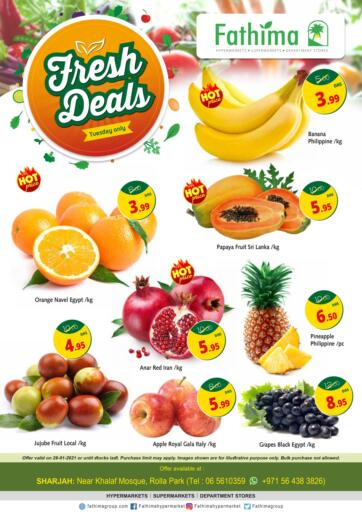 UAE - Sharjah / Ajman Fathima Hypermarkets & Supermarkets offers in D4D Online. Fresh Deals. . Only On 26th January