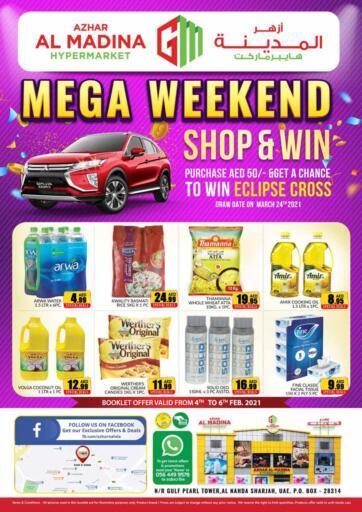 UAE - Sharjah / Ajman Azhar Al Madina Hypermarket offers in D4D Online. Mega Weekend.