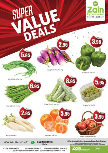 UAE - Sharjah / Ajman Zain Hypermarket offers in D4D Online. Super Value Deals. Super Value Deals!! Get your favorite products at the best prices from Zain Hypermarket. Offers Going For Groceries, Fresh Items & Home Needs etc  This offer is valid Till 03rd March 2021. Keep Shopping!!. Till 03rd March
