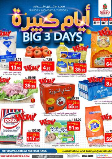 KSA, Saudi Arabia, Saudi - Al Hasa Nesto offers in D4D Online. Big 3 Days. Big 3 Days!!! Offers Going On For  Fresh Foods, Groceries, Home Needs, Fashion, Electronics, Appliances & Many More. Get your favorite products at the best prices from Nesto. Buy More Save More!  Offer Valid Till 9th March 2021. Happy Shopping!!!. Start Shopping!!!! . Till 9th March