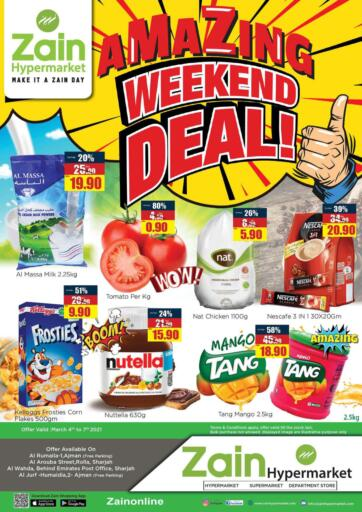 UAE - Sharjah / Ajman Zain Hypermarket offers in D4D Online. Amazing Weekend Deal. Amazing Weekend Deal!! Get your favorite products at the best prices from Zain Hypermarket. Offers Going For Groceries, Fresh Items & Home Needs etc  This offer is valid Till 07th March 2021. Keep Shopping!!. Till 7th March