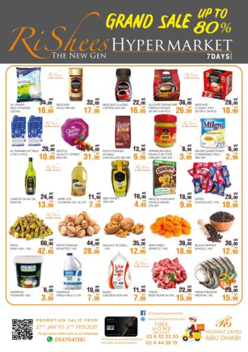 UAE - Abu Dhabi Rishees Hypermarket offers in D4D Online. Grand Sale Upto 80%. . Till 2nd February
