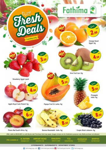 UAE - Abu Dhabi Fathima Hypermarkets & Supermarkets offers in D4D Online. Fresh Deals. . Only On 09th february