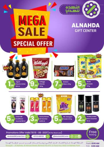 UAE - Sharjah / Ajman Al Nahda Gifts Center offers in D4D Online. Mega Sale. Mega Sale At Al Nahda Gifts Center.  Going For Groceries, Home Needs, Fashion & Many More At Their Store. Rush Now Get Your Items At Best Price.  Offer Valid Till 15th August 2021. Happy Shopping!!!. Till 15th August