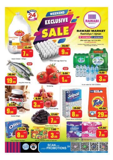 UAE - Sharjah / Ajman Rawabi Market Ajman offers in D4D Online. Exclusive Sale- Rashidiya. Exclusive Sale Now From Rawabi Market. Offer Valid Till 18th September 2021.  Enjoy Shopping!!!. Till 18th September