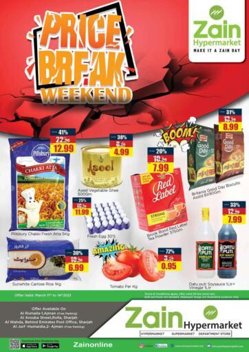 UAE - Sharjah / Ajman Zain Hypermarket offers in D4D Online. Price Break Weekend. Shop Now From Zain Hypermarket And Your Products At Price Break Weekend.Offer Valid Till 14th March 2021.  Enjoy Shopping!!!. Till 14th March