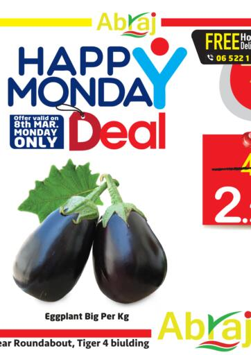 UAE - Sharjah / Ajman Abraj Hypermarket offers in D4D Online. Happy Monday Deal. . Only On 08th March
