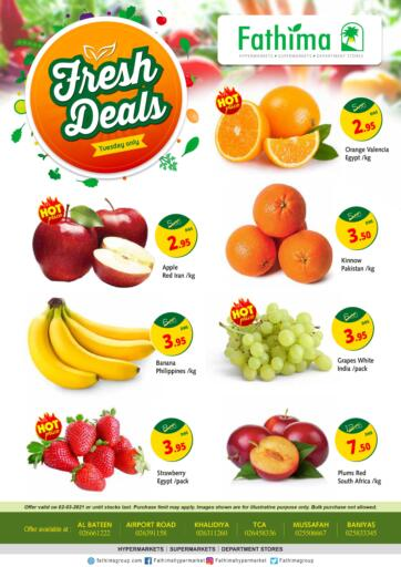 UAE - Ras al Khaimah Fathima Hypermarkets & Supermarkets offers in D4D Online. Fresh Deals. . Only On 02nd March