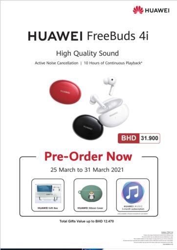 Bahrain LuLu Hypermarket offers in D4D Online. Pre-Order Now Huawei Free buds 4i. . Till 31st March