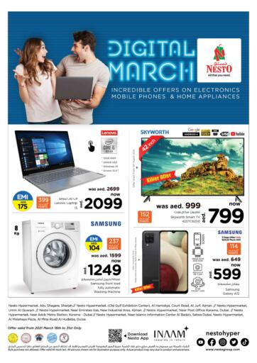 UAE - Umm al Quwain Nesto Hypermarket offers in D4D Online. Digital March. Exciting Offers Are Now Availed At Nesto Hypermarket. Visit Your Nearest Store And Get Everything On Best Price. Offer Valid Till 20th March.  Enjoy Shopping!!!. Till 31st March