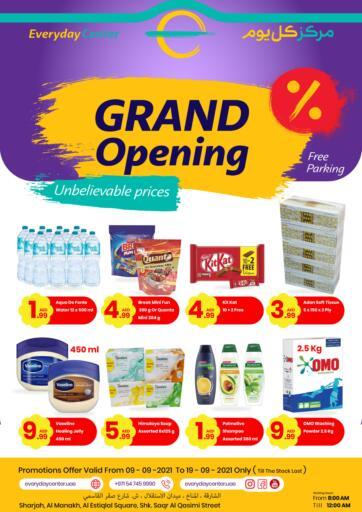 UAE - Sharjah / Ajman Everyday Center offers in D4D Online. Grand Opening. . Till 19th September