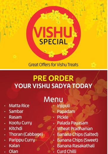 Bahrain LuLu Hypermarket offers in D4D Online. Vishu Special. Vishu Special @ LuLu Hypermarket!! Pre-Order Your Vishu Sadya Today!. Until Stock Last