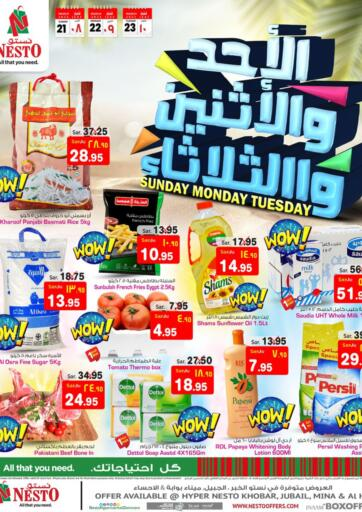 KSA, Saudi Arabia, Saudi - Al Hasa Nesto offers in D4D Online. Sunday Monday Tuesday. Sunday Monday & Tuesday Deals Offers!!! Offers Going On For  Fresh Foods, Groceries, Home Needs, Fashion, Electronics, Appliances & Many More. Get your favorite products at the best prices from Nesto. Buy More Save More! Offer Valid Till 23rd March 2021. Happy Shopping!!! Start Shopping!!!! . Till 23rd March