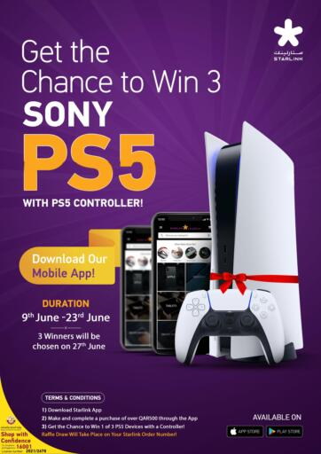 Qatar - Al-Shahaniya Starlink offers in D4D Online. Get The Chance To Win 3 Sony PS5.  Get The Chance To Win 3 Sony PS5 Are Available At Starlink . Hurry Up . Offers Are Valid Till  23rd June. Enjoy Shopping!!!! . Till 23rd June