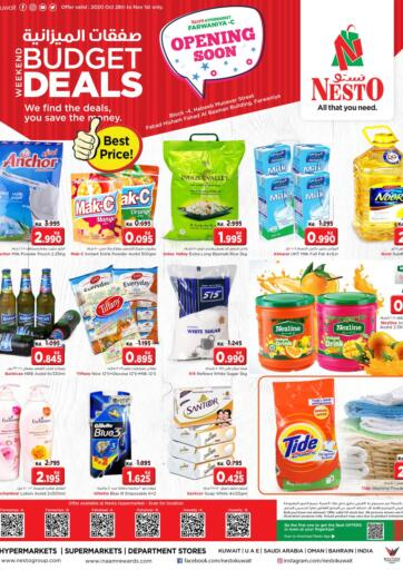 Kuwait Nesto Hypermarkets offers in D4D Online. Budget Deals. Nesto Hypermarket Brings Best Deals On Your Favorite Products,Get Them Before 01st November 2020.  Enjoy Shopping!!!. Till 1st November