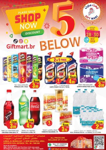 UAE - Sharjah / Ajman GIFT MART- Ajman offers in D4D Online. 5 Below. . Till 30th October