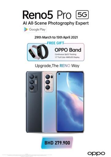 Bahrain LuLu Hypermarket offers in D4D Online. Reno 5Pro 5G @ LuLu Hypermarket. Reno 5Pro 5G @ LULU!! Shop from LuLu Hypermarket and get Amazing prices on  Reno 5Pro 5G. Offer Valid Till 15th April.. Till 15th April