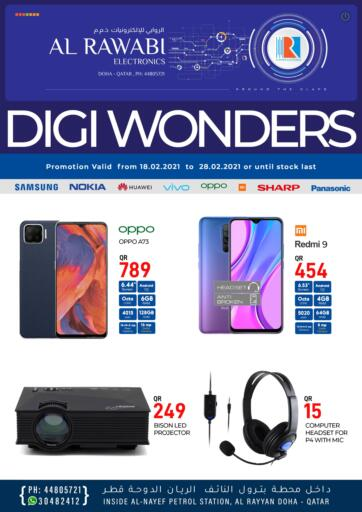 Qatar - Doha Al Rawabi Electronics offers in D4D Online. Digi Wonders. Digi Wonders Offers Are Available At Al Rawabi Electronics. Offers Are Valid Till 28th February. Enjoy Shopping!!. Till 28th February