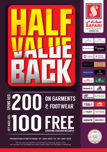 UAE - Dubai Safari Hypermarket  offers in D4D Online. Half Value Back. Half Value Back Is Happening Now At Safari Hypermarket. Go And Grab Your Products At Best Price  Offer Valid Till 30th January. Enjoy Shopping!. Till 30th January