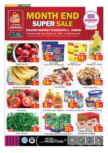 UAE - Sharjah / Ajman Rawabi Market Ajman offers in D4D Online. Month End Super Sale - Rashidiya, Ajman. Month End Super Sale Now From Rawabi Market. Offer Valid Till 02nd October 2021.  Enjoy Shopping!!!. Till 2nd October