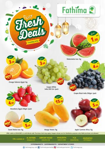 UAE - Abu Dhabi Fathima Hypermarkets & Supermarkets offers in D4D Online. Fresh Deals. . Only On 20th April
