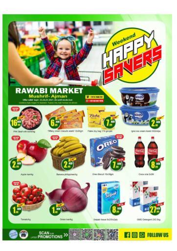 UAE - Sharjah / Ajman Rawabi Market Ajman offers in D4D Online. Weekend Happy Saver @ Mushrif. Weekend Happy Saver Now From Rawabi Market. Offer Valid Till 25th September 2021.  Enjoy Shopping!!!. Till 25th September