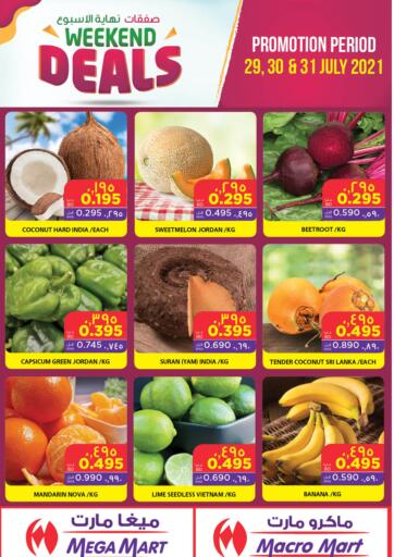 Bahrain MegaMart & Macro Mart  offers in D4D Online. Weekend Deals. Weekend Deals At MegaMart & MacroMart! Offer Includes Groceries, Fruits, Vegetables & much more at reduced prices. Offer Valid Till 31st July. Happy Shopping!!. Till 31st July