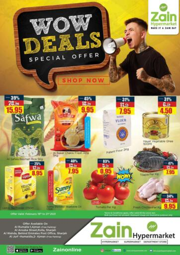UAE - Sharjah / Ajman Zain Hypermarket offers in D4D Online. Wow Deals. Wow Deals.!! Get your favorite products at the best prices from Zain Hypermarket. Offers Going For Groceries,  Electronics, Fresh Items & Home Needs etc  This offer is valid Till 21st February 2021. Keep Shopping!!. Till 21st February