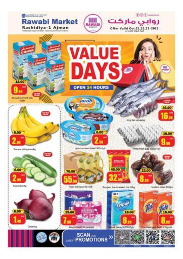 UAE - Sharjah / Ajman Rawabi Market Ajman offers in D4D Online. Rashidiya - Value Days. . Till 23rd October