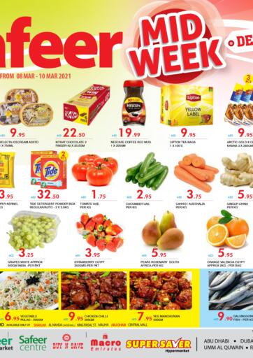 UAE - Abu Dhabi Safeer Hyper Markets offers in D4D Online. Midweek Deals. Midweek Deals At Safeer Hyper Market. Get Exciting Offers On Groceries, Fruits, Vegetables, Home needs, etc. Offer Valid Till 10th March 2021  Enjoy Shopping!!!. Till 10th March
