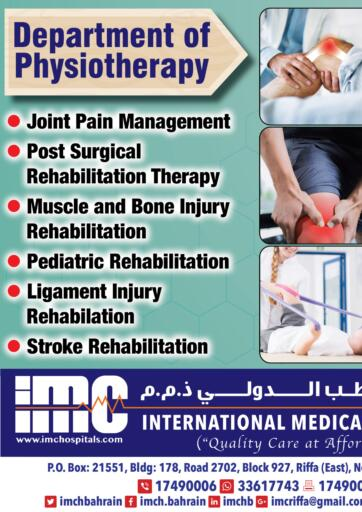 Bahrain International Medical Centre offers in D4D Online. Physiotherapy Offer. . Till 15th February