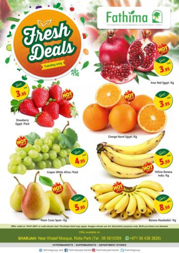 UAE - Sharjah / Ajman Fathima Hypermarkets & Supermarkets offers in D4D Online. Fresh Deals. . Only On 19th January