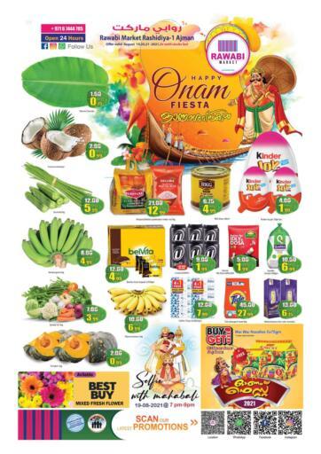 UAE - Sharjah / Ajman Rawabi Market Ajman offers in D4D Online. Onam Fiesta @ Rashidiya. Get The Budget Deals Now From Rawabi Market. Offer Valid Till 21st August 2021.  Enjoy Shopping!!!. Till 21st August