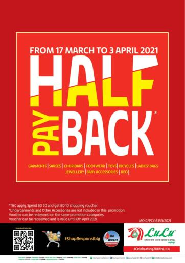 Bahrain LuLu Hypermarket offers in D4D Online. Half pay back. . Till 03rd April