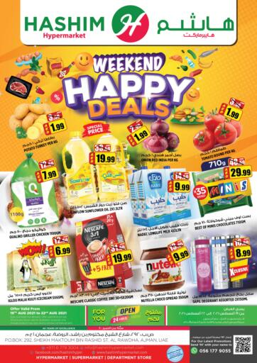 UAE - Sharjah / Ajman Hashim Hypermarket offers in D4D Online. Weekend Happy Deals. Weekend Happy Deals Are Waiting For You At Hashim Hypermarket.Get Your Products At Exiting Offer.Valid Till 22nd August 2021.  Enjoy Shopping!!!. Till 22nd August