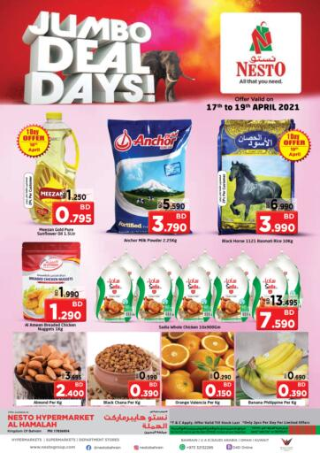 Bahrain NESTO  offers in D4D Online. Jumbo Deal Days!. Jumbo Deal Days! @ NESTO!! Get Unbelievable Discounts On Groceries, Cookware, Home Appliances &  Much More At Nesto. Avail This Offer Till 19th April! Hurry Now!! Have a Good Shopping!!. Till 19th April