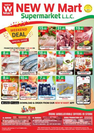 UAE - Dubai NEW W MART SUPERMARKET  offers in D4D Online. Weekend Deal. . Till 14th March