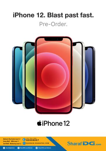 Bahrain Sharaf DG offers in D4D Online. Apple iPhone 12 Pre-order now @ Sharaf DG. Don't miss out the Chance !!! Apple iPhone 12 Pre-order now @ Sharaf DG. Excitement to enjoy this weekend with Sharaf DG. Offer valid  till 20th November 2020. Enjoy Shopping!!!. Pre-Order