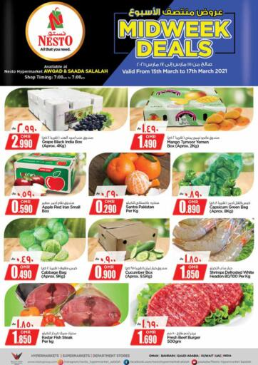 Oman - Salalah Nesto Hyper Market   offers in D4D Online. Midweek Deals. Midweek Deals Is Available At Nesto Hyper Market. Offers Are Valid Till 17th March 2021. HAVE A HAPPY SHOPPING!!. Till 17th March