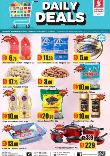 Qatar - Al Wakra Safari Hypermarket offers in D4D Online. Daily Deals. Daily Deals Offers Are Available At Safari Hypermarket. Offers Are Valid Till 27th February . Enjoy!!. Till 27th February