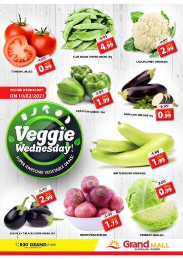 UAE - Sharjah / Ajman Grand Hyper Market offers in D4D Online. Al Musallah - Sharjah. It's Veggie Wednesday & Fresh Deals at Grand Hyper Market. Exclusive Offer For Vegetables & Selected Items. Get Your Favourite Products at Best Prices. This Offer is Valid Only On 10th February 2021. Enjoy Shopping!. Only On 10th February