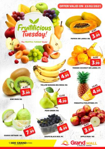 UAE - Sharjah / Ajman Grand Hyper Market offers in D4D Online. Musallah, Sharjah. It's Fruitilicious Tuesday & Tasty Tuesday Deal at Grand Hyper Market. Exclusive Offer For Fruits & Selected Items. Get Your Favourite Products at Best Prices. This Offer is Valid Only On 23rd February 2021. Enjoy Shopping!. Only on 23rd February
