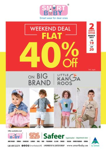 UAE - Abu Dhabi Safeer Hyper Markets offers in D4D Online. Smart Baby Flat 40% off on Brand Little Kangaroos. . Till 20th March