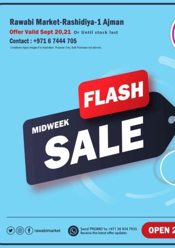 UAE - Sharjah / Ajman Rawabi Market Ajman offers in D4D Online. Flash Midweek Sale. Flash Midweek Sale Now From Rawabi Market. Offer Valid Till 21st September 2021.  Enjoy Shopping!!!. Till 21st September