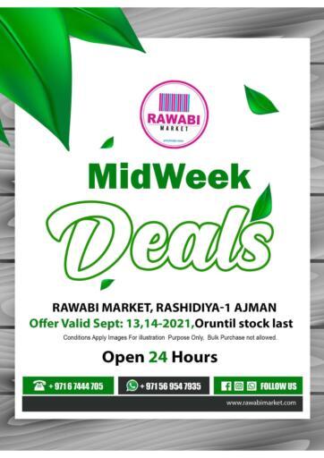 UAE - Sharjah / Ajman Rawabi Market Ajman offers in D4D Online. Midweek Deals - Rashidiya. Midweek Deals Now From Rawabi Market. Offer Valid Till 14th September 2021.  Enjoy Shopping!!!. Till 14th September