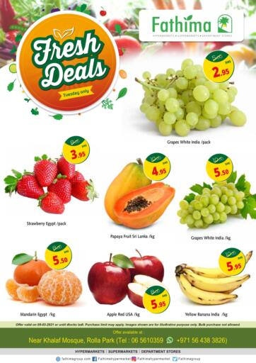 UAE - Sharjah / Ajman Fathima Hypermarkets & Supermarkets offers in D4D Online. Fresh Deals. . Only On 9th March