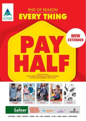 UAE - Sharjah / Ajman Safeer Hyper Markets offers in D4D Online. Everything Pay Half. . Till 2nd October
