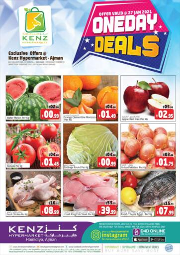 UAE - Sharjah / Ajman Kenz Hypermarket offers in D4D Online. One Day Deals. One Day Deals!!! Offers Going On For  Fresh Foods, Groceries & Many More. Get your favorite products at the best prices from Kenz Hypermarket. Buy More Save More! .  Offer Valid Only On 27th January 2021. Happy Shopping!!!. Start Shopping!!!! . Only On 27th January