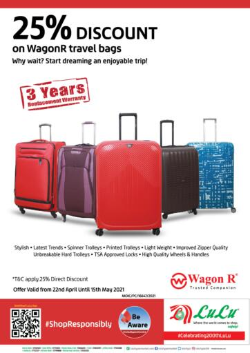 Bahrain LuLu Hypermarket offers in D4D Online. 25% Discount on WagonR Bags. . Till 15th May