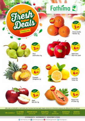 UAE - Abu Dhabi Fathima Hypermarkets & Supermarkets offers in D4D Online. Fresh Deals. . Only On 30th March